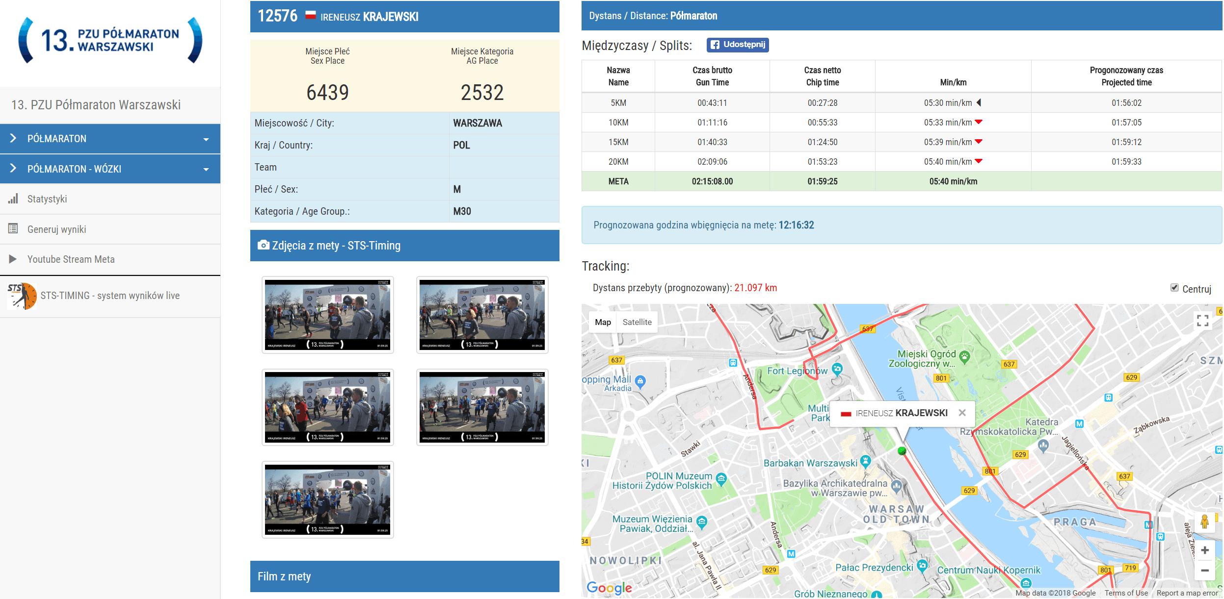 PZU Półmaraton Warszawski - wyniki: Ireneusz Krajewski